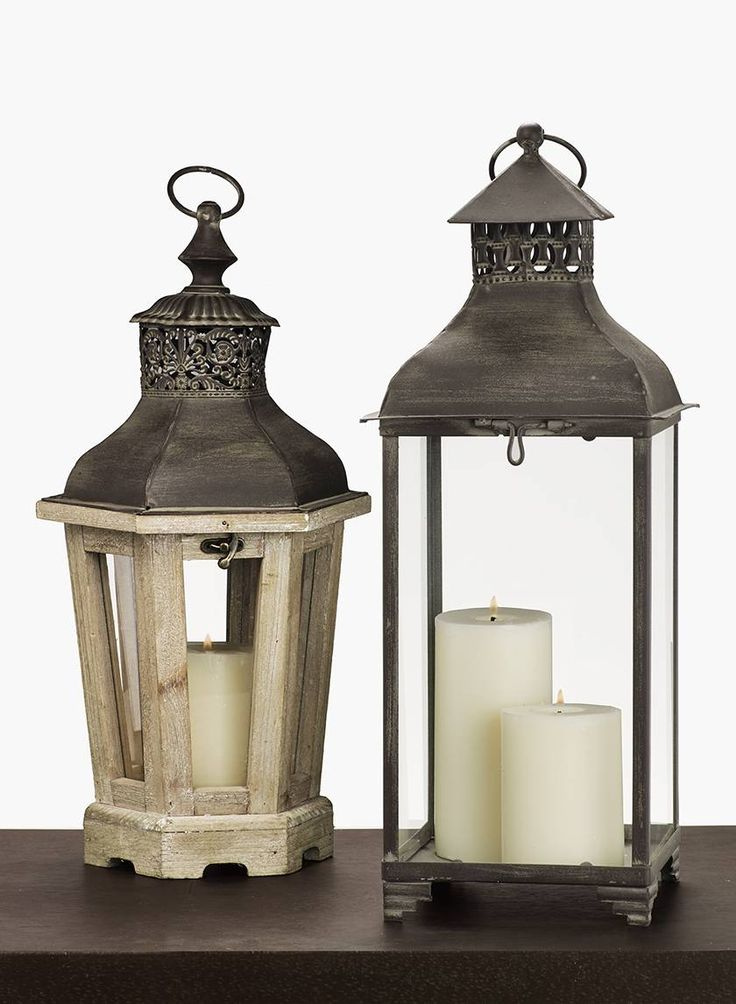 Square Metal Lantern & Wood Lantern With Metal Top