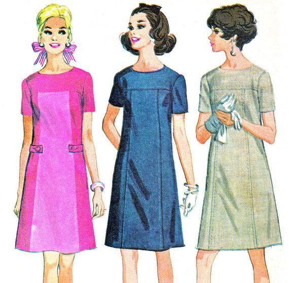 1960s Dress Pattern McCalls 9206 Mod Short Sleeve Yoked A Line Dress Day or Evening Womens Vintage Sewing Pattern Plus Size Bust 46 Uncut