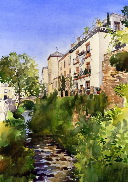 Acera del Darro, Granada - painting by Margaret Merry   http://margaretmerry.wordpress.com/
