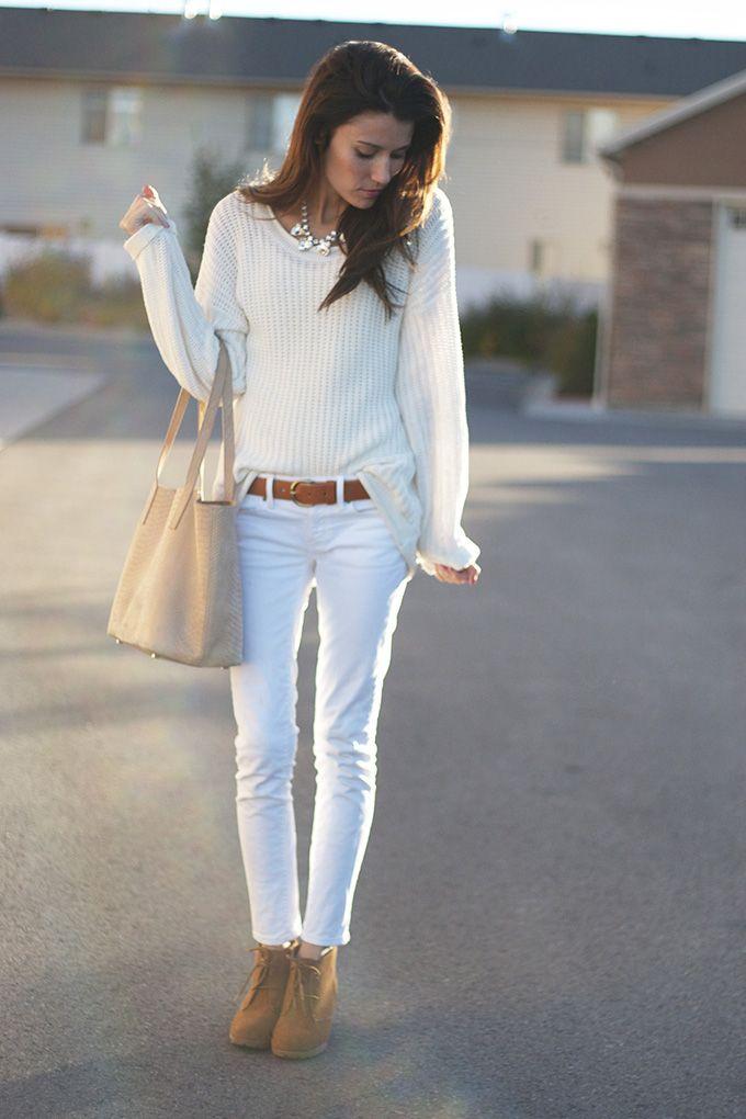 Love this simple white on white... White jeans + white sweater {via Hello Fashion Blog}
