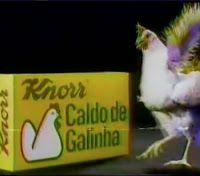 Campanha do Caldo de Galinha Knorr em provocação à Maggi, nos anos 80.