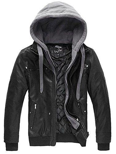 Wantdo Men's Faux Leather Jacket Removable HoodCrabtree & Stewart Gifts