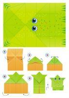 Лягушка. Цветная модель оригами