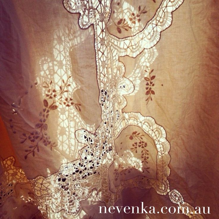 Ecru cotton heart embroided lace