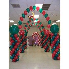 Columnas en spiral unidas con globos que tienen helio - Decoracion de navidad con globos ...