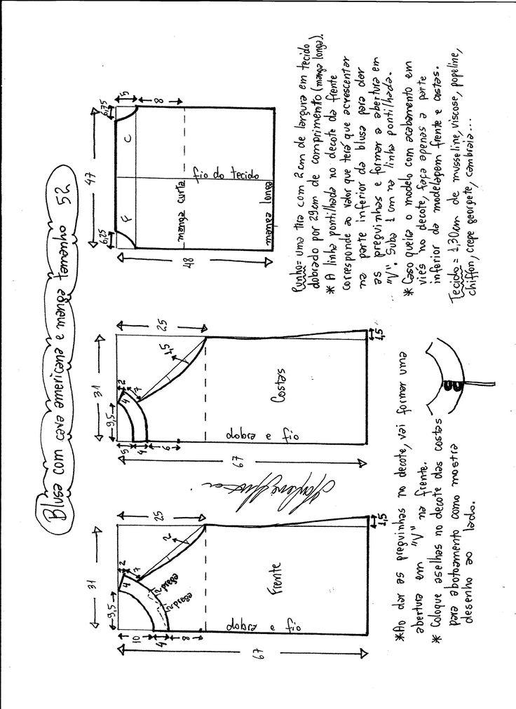 Patrón para hacer una blusa cava americana con manga. Tallas desde la 36 hasta la 56.