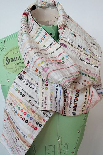 Clever scarf made from fabric selvages.  IMG_1489 | Flickr - Photo Sharing!