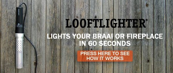 """The original Looftlighter is a Swedish patented invention that lights your braai or fireplace with super-heated air within 60 seconds. It can also """"fast-forward"""" your charcoal or briquettes and make it possible to start cooking in just a couple of minutes.  www.thegadgetshop.co.za"""