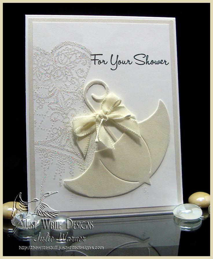 Wedding shower card w/ ivory shimmer umbrella - #Stampendous bodice image
