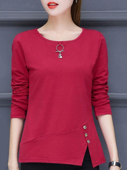 Cuello Redondo Ventilacion Lateral Liso Camisa Con Manga Larga Berrylook Com Ladies Tops Fashion Fashion Tops Clothes