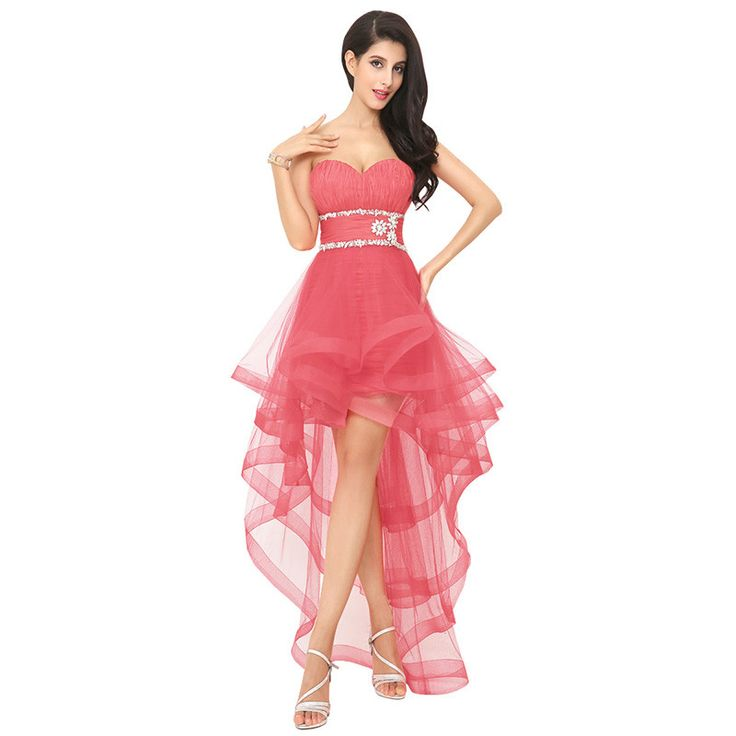 H007 Sweetheart Formal Beaded Sashes Cocktail Homecoming Prom Dress vestido de festa Pageant High Low Vintage New Arrival 2016