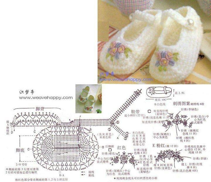 Mejores 168 imágenes de Crochet Shoes en Pinterest   Zapatos de ...
