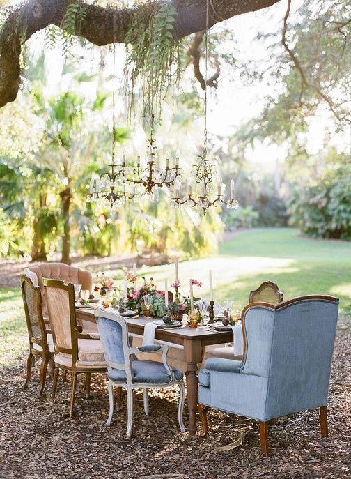 Utiliser des meubles d'intérieur à l'extérieur jardin mariage pinterest déco