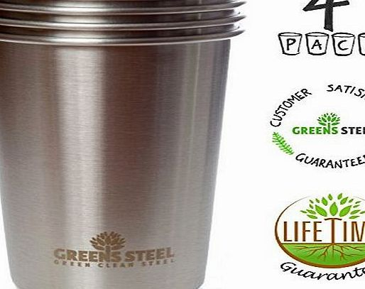 Greens Steel New Premium Stainless Steel Pint Cup (Limited Edition 4 Pack) 16oz/ 473ml Premium Stackable Tumbler  No description (Barcode EAN = 0820103116558). http://www.comparestoreprices.co.uk/latest1/greens-steel-new-premium-stainless-steel-pint-cup-limited-edition-4-pack-16oz-473ml-premium-stackable-tumbler-.asp