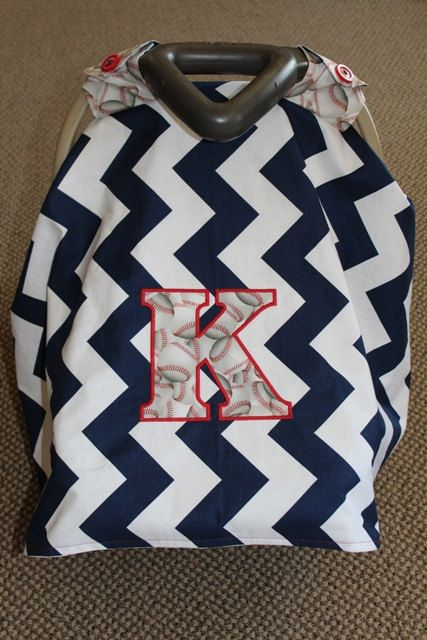 Car Seat Canopy Chevron Baseball Baby Cover by SewSnazzybyBrook, $60.00