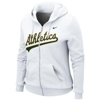 Nike Oakland Athletics Ladies Classic Full Zip Hoodie - White