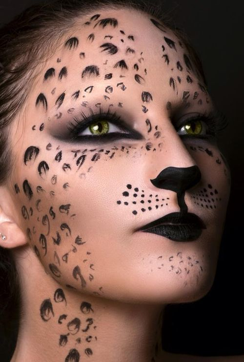 Face paint makeup art - I think this would be great for a costume! Cat makeup