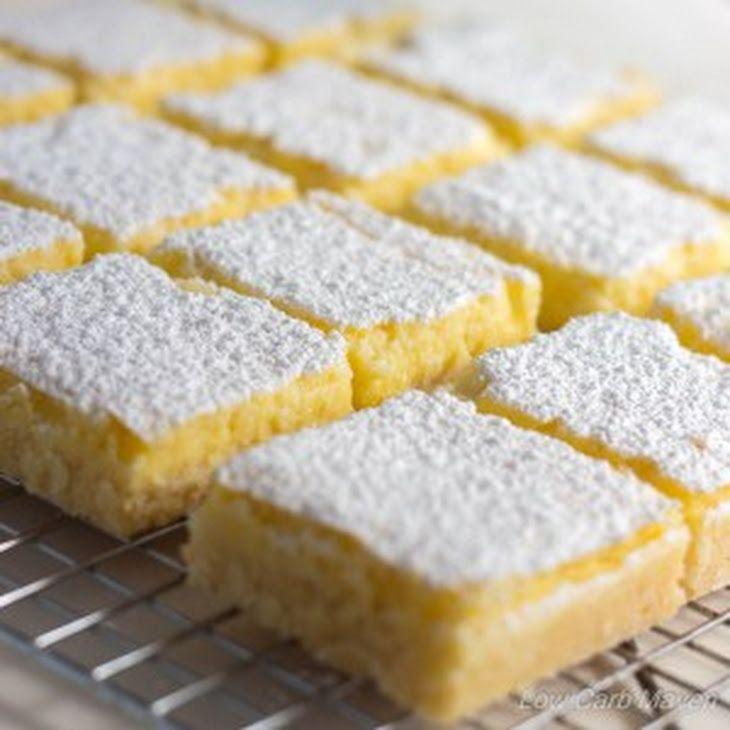 Favorite Low Carb Lemon Bars Recipe Desserts with crust, lemon juice, sweetener, stevia, corn starch, large eggs, large egg yolks, salt