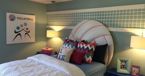 Girl's Volleyball bedroom, volleyball headboard | Kid's Rooms - New Construction | Pinterest | Volleyball bedroom, Soccer and This is awesome
