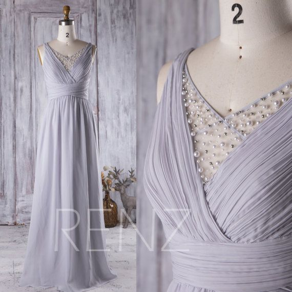 2016 Light Gray Chiffon Bridesmaid Dress Long, V Neck Beading Mesh Wedding Dress, Open Back Spaghetti Straps Prom Dress Floor…