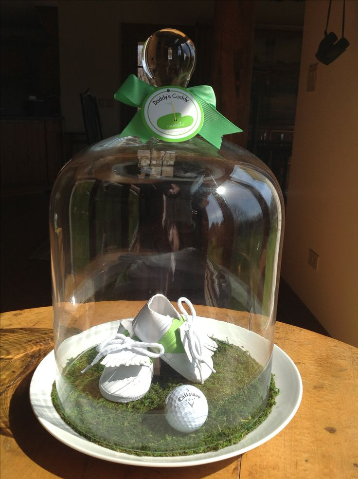 """Baby shower centerpiece """" Daddy's little Caddy"""" Baby golf shoes from Mud Pie/amazon.com @Brittany Slegers"""