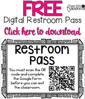 Need a classroom management idea to help prevent too many restroom breaks? Check out this QR Codes that scans to keep documentation of restroom breaks. A great way to integrate technology in the classroom!