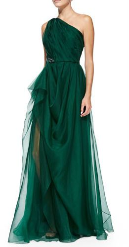 I wish I had a reason to wear this gown. It's gorgeous. Emerald green perfect from Badgley Mischka