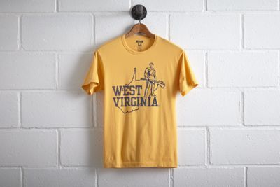 Tailgate Men's West Virginia T-Shirt by  American Eagle Outfitters | The WVU Mountaineer, adorned in a custom-tailored buckskin costume and coonskin cap, fires his musket at the start of each game and with every score. Shop the Tailgate Men's West Virginia T-Shirt and check out more at AE.com.