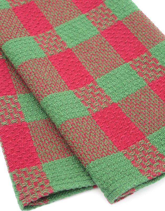 Handwoven Dish Towel Red Green Raindrops