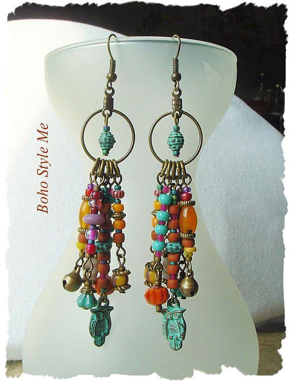 Boho Colorful Fun Earrings Bohemian Jewelry Patina Owl