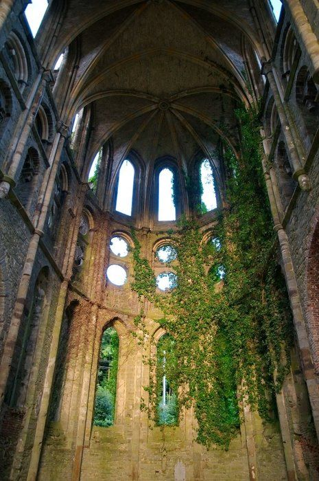Villers-la-Ville, France WOW! I freakin' LOOOOOVE how nature just invaded this beautiful structure!