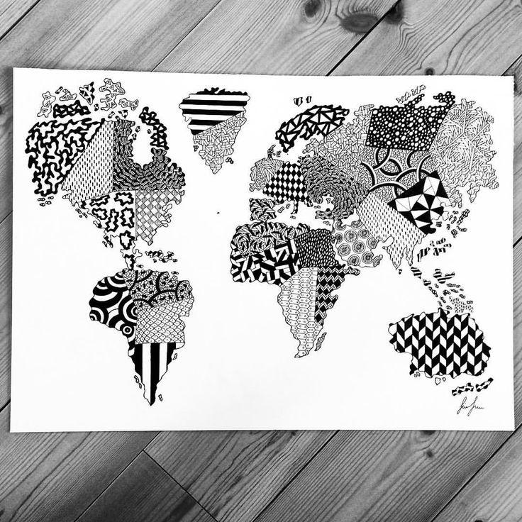 https://www.instagram.com/simonestubgaard/ new size 50x70cm world map! ✍✍ #drawing #art #artforsale #pendrawing #pattern #personalart #artsy #penart #world #worldmap #inspiration #artist #simonestubgaard