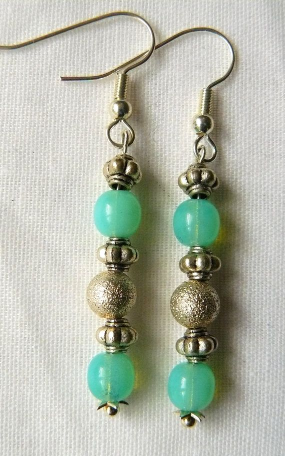 Earrings Silver/Blue Beads by PolyhedraDesign on Etsy