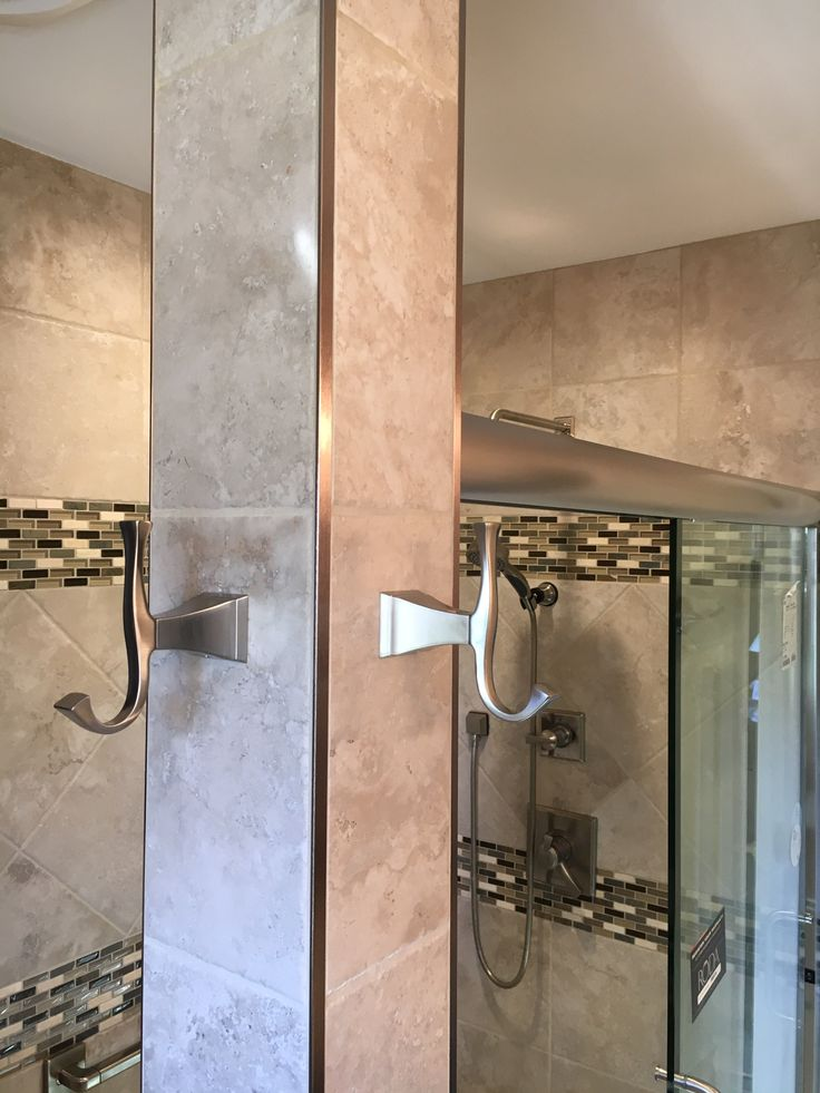 Stainless Steel Bathroom Accents With Metal Schluter