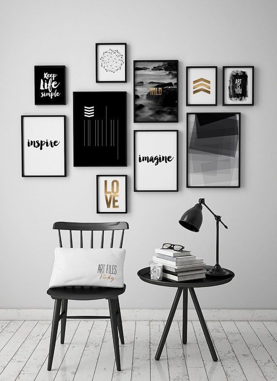 Wall art prints set of 10 prints 10 art prints set minimalist prints black and white artfilesvicky
