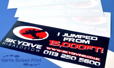 Window stickers for cars printed to promote skydive activity