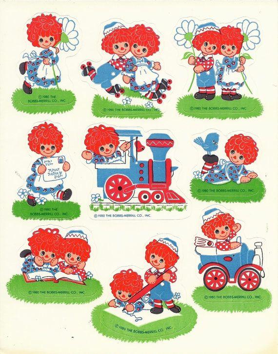 Vintage 1980 Hallmark Raggedy Ann And Andy Sticker Sheet