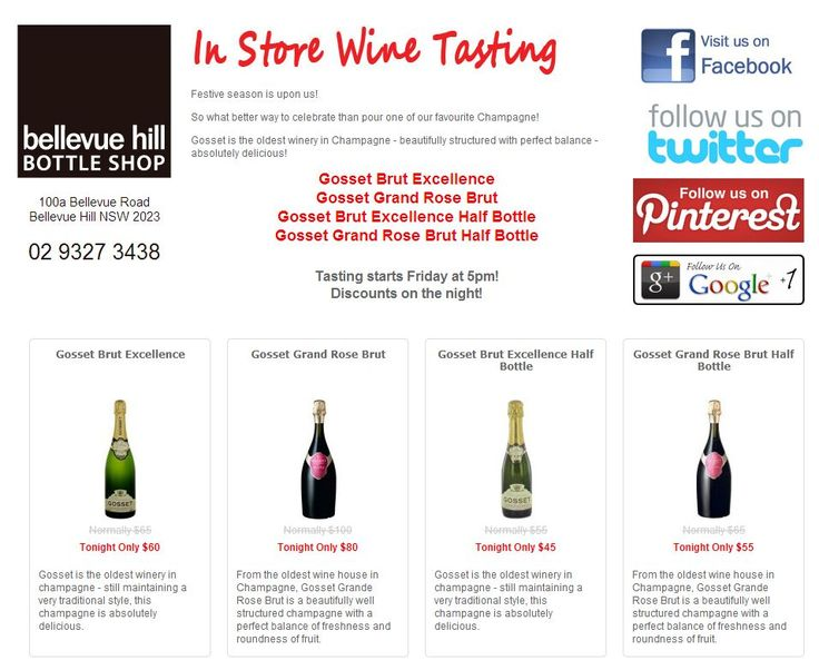 This week's tasting - GOSSET Brut and Rose! Don't get free, quality champagne every day. Don't miss out - from 5pm @100A Bellevue Rd, Bellevue Hill