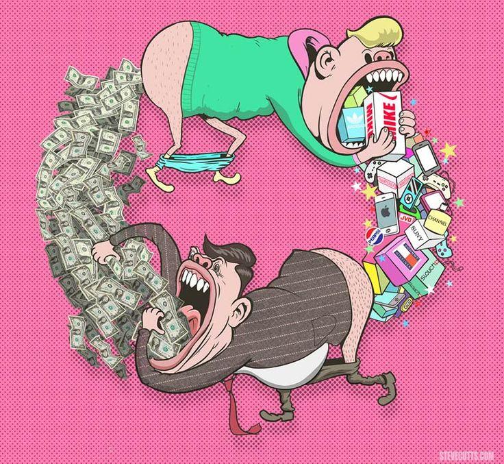 Triste monde moderne – Les illustrations trash et satiriques de Steve Cutts