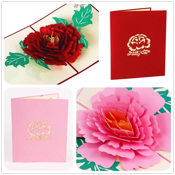 Купить товар3D Пион Ручной Работы Всплывающие Карты Приветствие & Gift Card в красный Розовый Спасибо вам Карт для любовника С Днем рождения открытки в категории Поздравительные открыткина AliExpress. категория:3D Pop Up Картыцвет:красный/Розовыйвес:34 гконверты:датехника:лазерная Резкауплотнения:нетРазмер карты: 13*15.