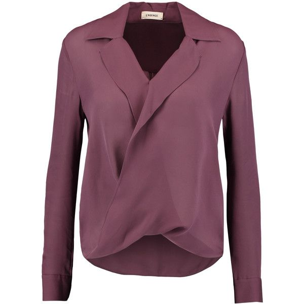 L'Agence Rita wrap-effect washed-silk georgette blouse (£131) ❤ liked on Polyvore featuring tops, blouses, grape, silk georgette blouse, wrap around blouse, drapey tops, loose tops and purple top