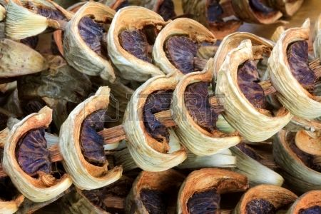 Sliced sun dried Betel Nuts Areca nut for chewing popular in Asia Stock Photo