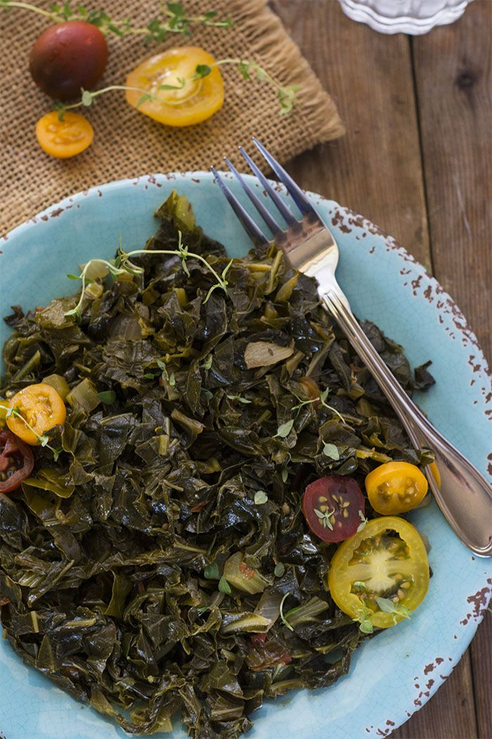 Vegan Southern-Style Collard Greens  - easily cooks up in 30 minutes with onions, garlic, tomatoes and aromatic herbs and spice for an amazingly delicious taste of the South! : healthiersteps
