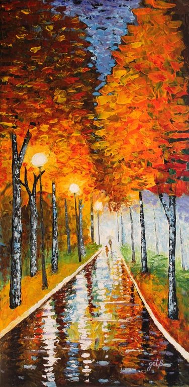 "Acrylic, 2012, Painting ""Autumn Park Night Lights acrylic palette knife painting"""