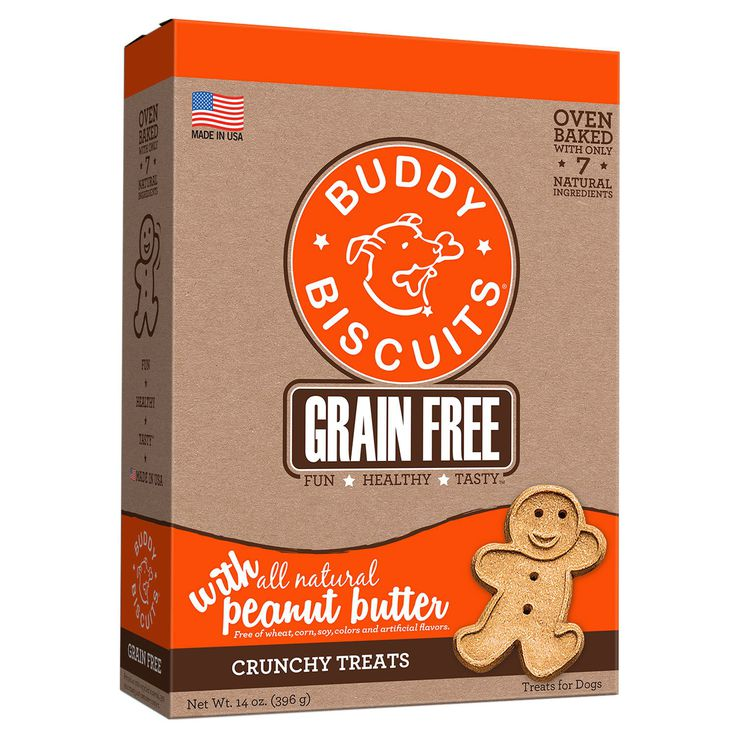 Buddy Biscuits CS-28150 Grain Free Oven Baked Crunchy Dog Treats Peanut Butter 14 ounces