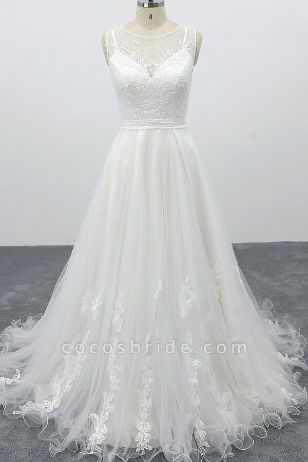 Graceful Appliques Tulle A Line Wedding Dress A Line Wedding Dress Online Wedding Dress Elegant Wedding Dress