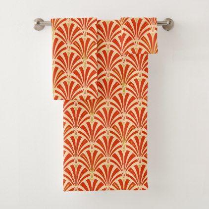 #Art Deco Fan Pattern mandarin orange Bath Towel Set - #deco #gifts