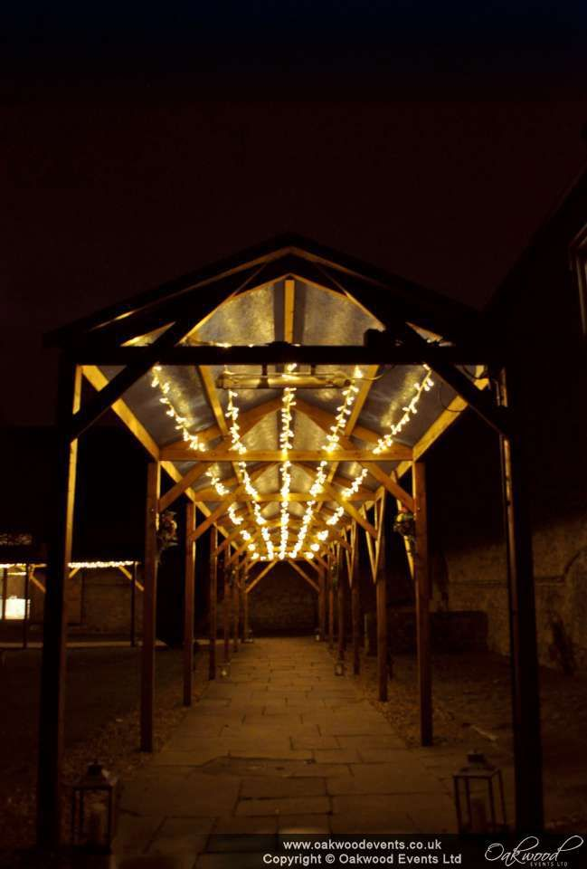 Fairy lighting for a #wedding at Notley Abbey under the walkway