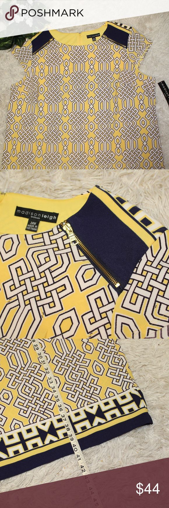 Madison Leigh Yellow/Navy Geometric dress, sz: 24W NEW WITH TAGS! Never worn, in…