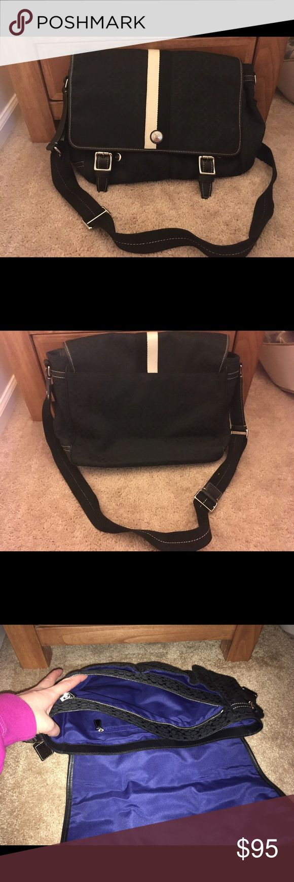 Coach travel bag Like new Coach carry on travel bag that holds a full size Laptop. Two sections inside with outside pockets. Coach Bags Travel Bags